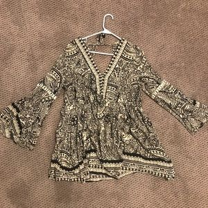 Balloon Sleeve Paisley Tunic Dress